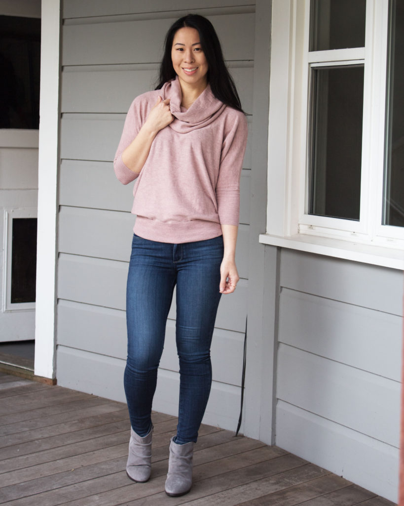 My First Fashom Box   My Experience & Review   Wearing a Fashom out in a pink sweater and jeans