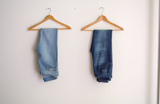 Two Jeans hanging for Blog Post Frank & Oak Style Plan Experience and Review