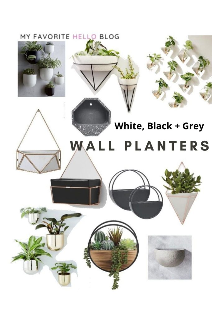 White, Black and White Wall Planters