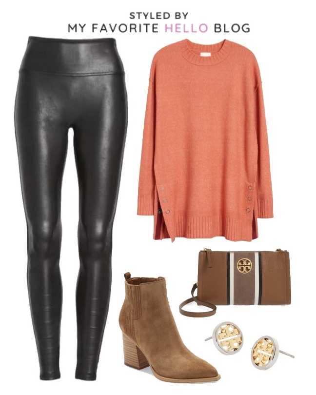 Nordstrom Fall Outfit with faux leather leggings