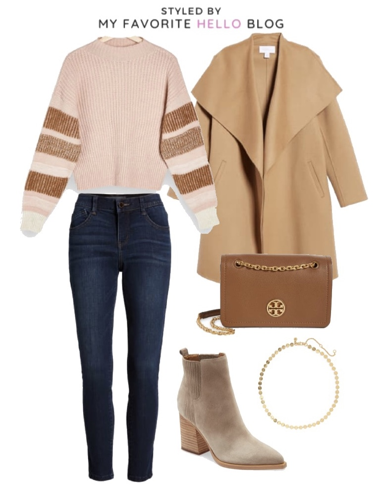 Nordstrom fall outfit with coat and suede boots