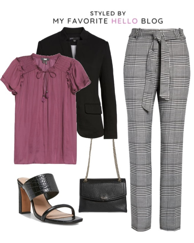 Nordstrom fall work outfit with purple blouse and plaid pants