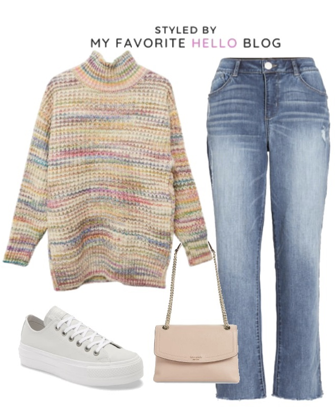 Fall Outfit with Pink purse and platform sneakers