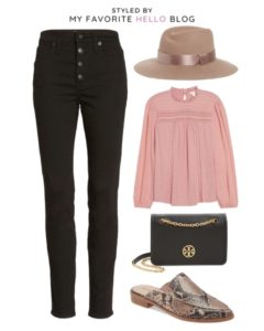 Nordstrom Fall Outfit with pink blouse and animal print mules