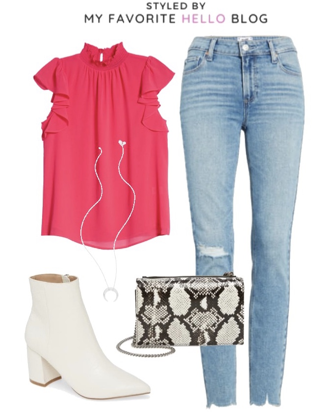 Nordstrom Fall Outfit with White ankle booties and jeans
