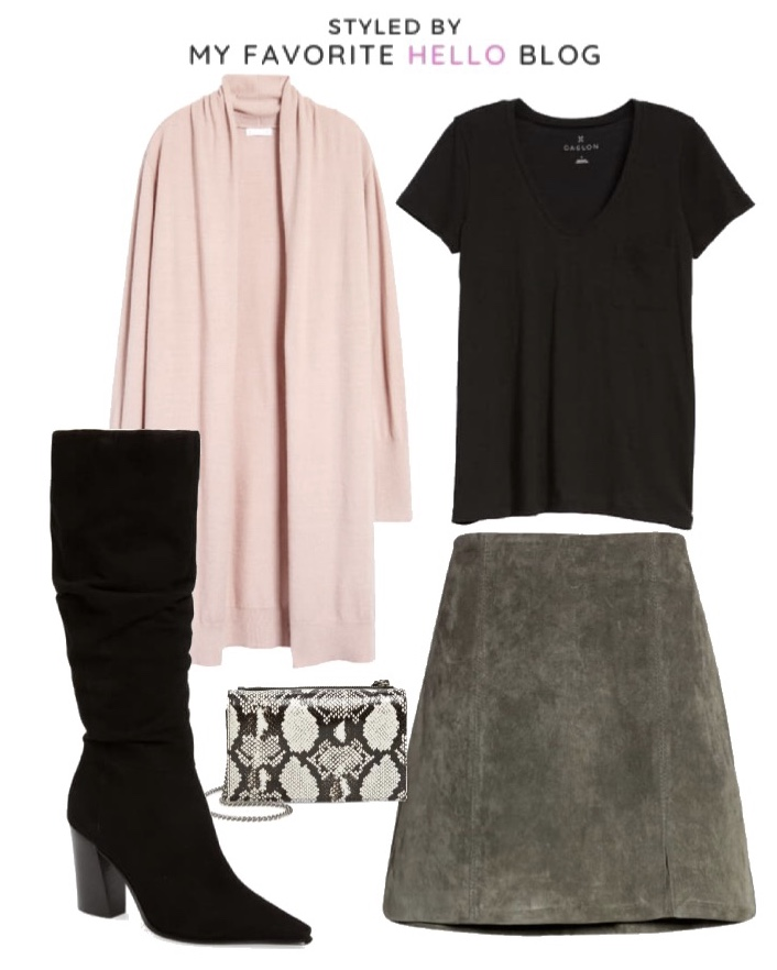 Nordstrom Fall Outfit with suede skirt and knee high boots