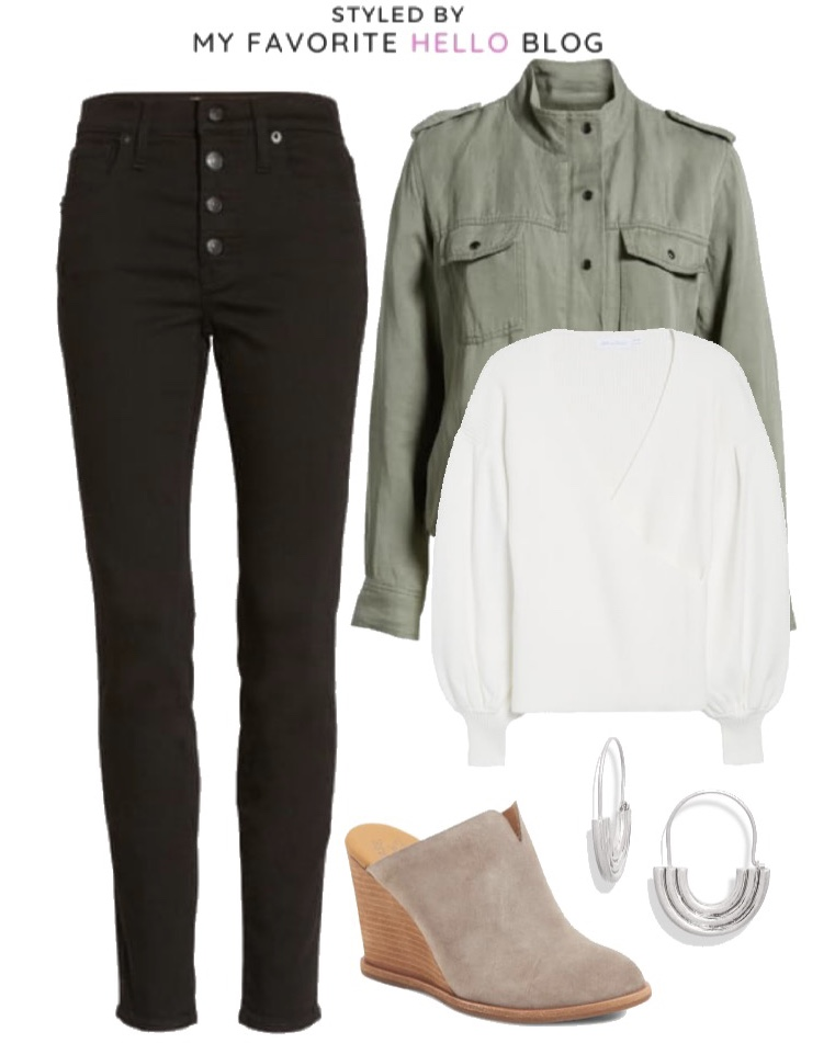 Nordstrom Fall Outfit with Black Jeans and Olive Cargo Jacket