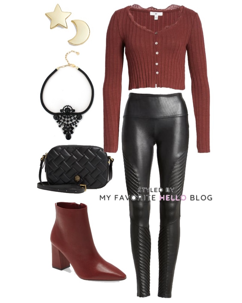 Winter outfit with spanx faux leather moto leggings