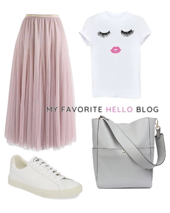 Tulle skirt outfit casual