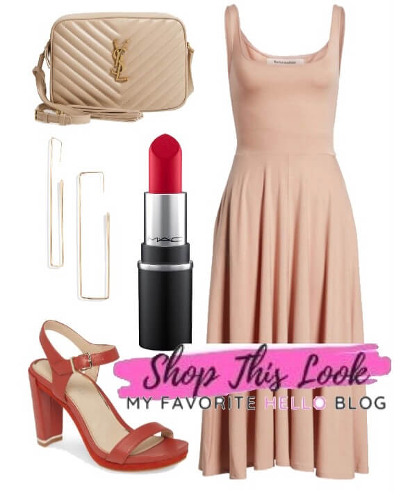Red Shoes with blush dress
