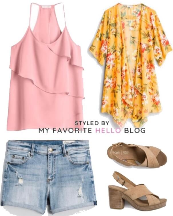 Stitch Fix Summer Outfit with Denim Shorts
