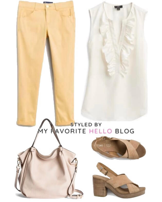 Stitch Fix summer outfit with Yellow jeans