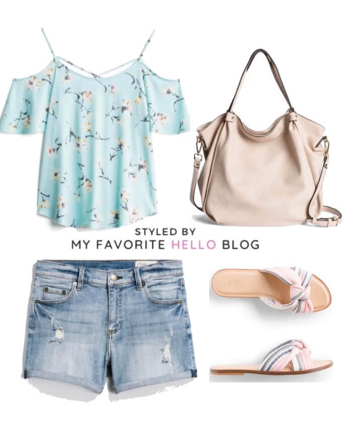 Stitch Fix summer outfit with cold shoulder top