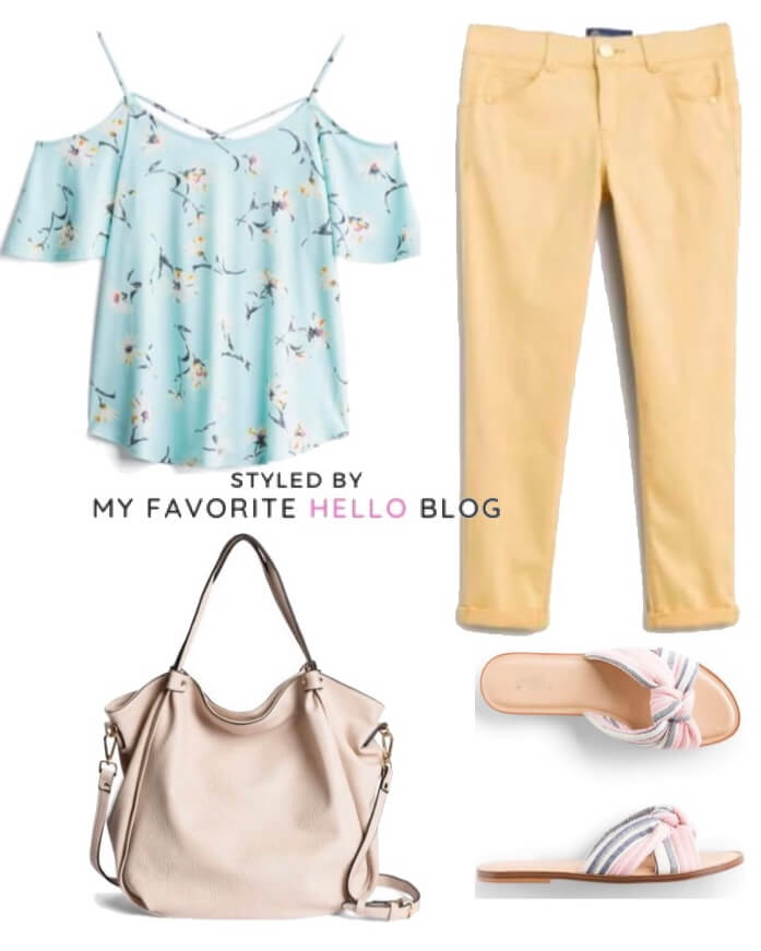 Stitch Fix summer outfit with pink sandals