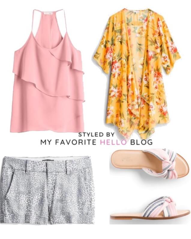 Stitch fix summer outfit with pink tank top