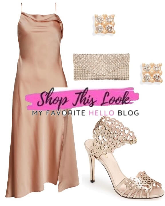 champagne shoes with blush dress