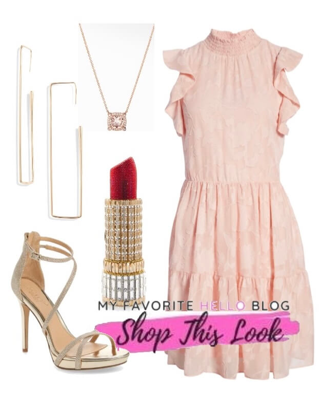 gold shoes with blush dress