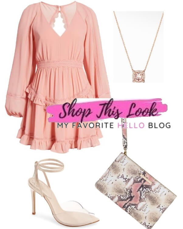 nude shoes with blush dress