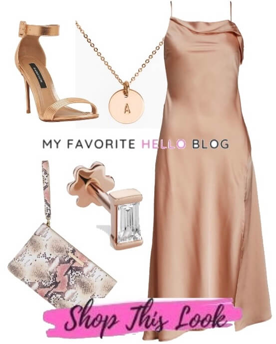 rose gold shoes with blush dress