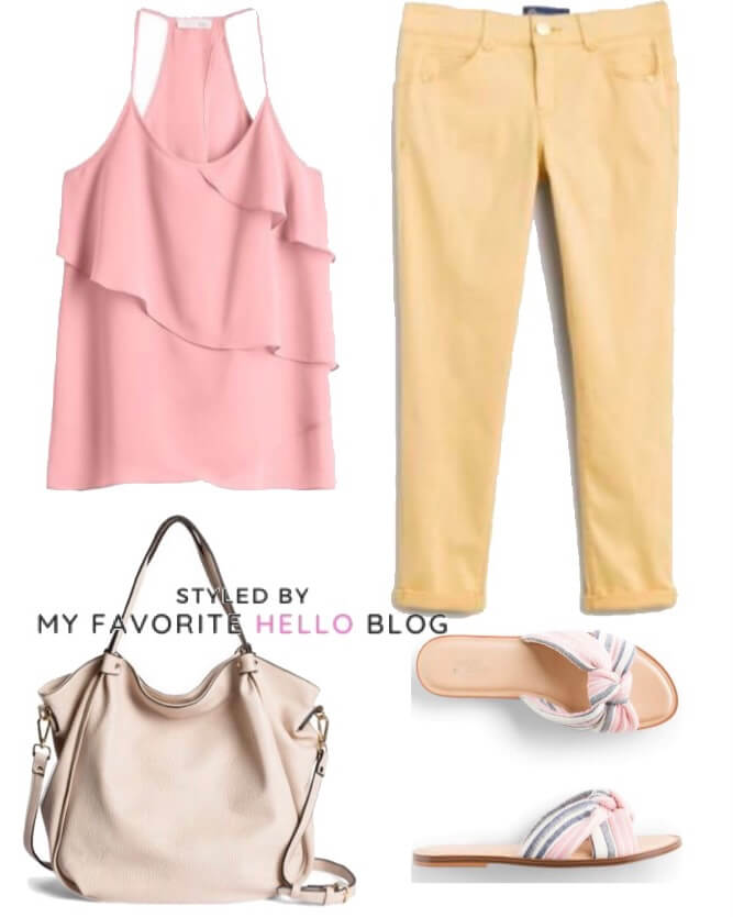 stitch fix summer outfit with pink and yellow