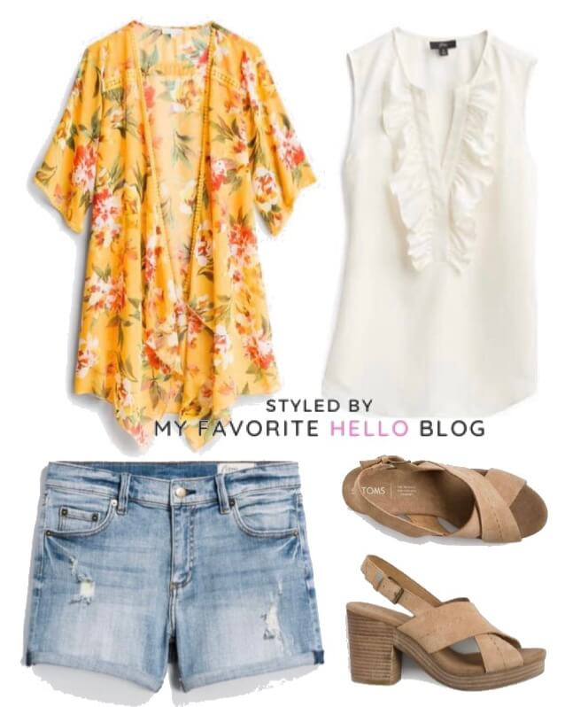 stitch fix summer outfit with shorts and platforms