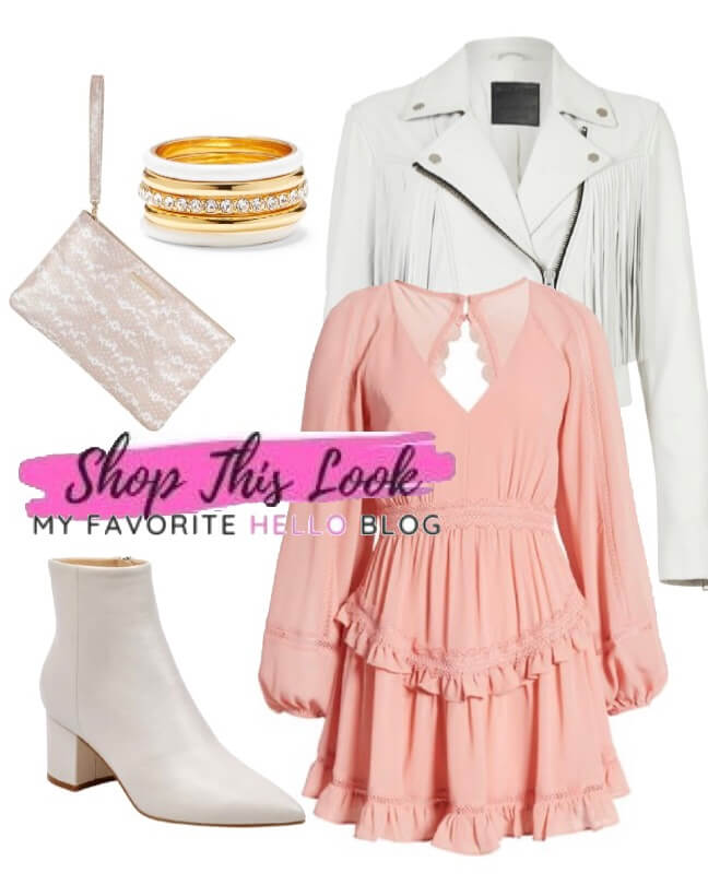 white shoes with blush dress