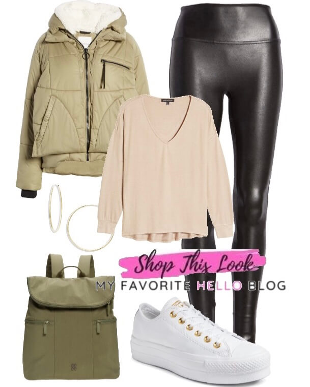 Fall outfit with leather leggings and quilted jacket