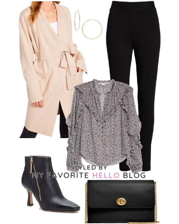 Winter outfit with coat and black boots