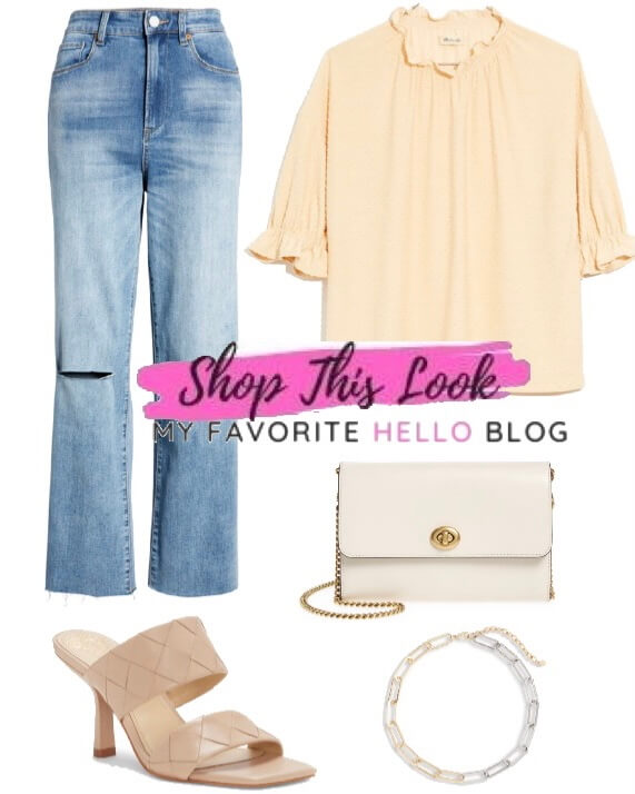 casual summer outfit with straight jeans and cream heels