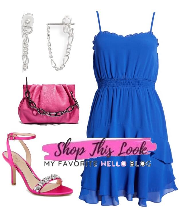 Royal blue dress with pink shoes