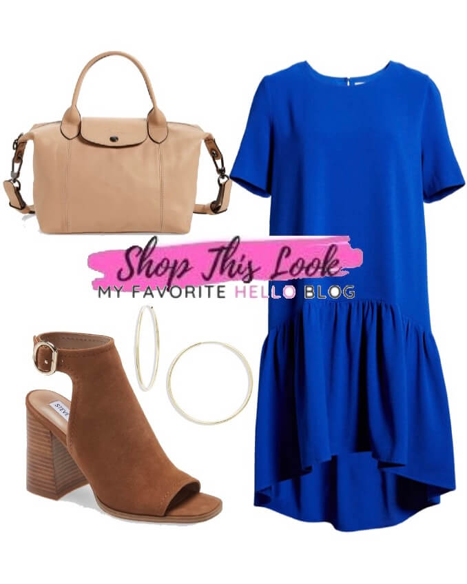 cobalt blue dress with brown shoes
