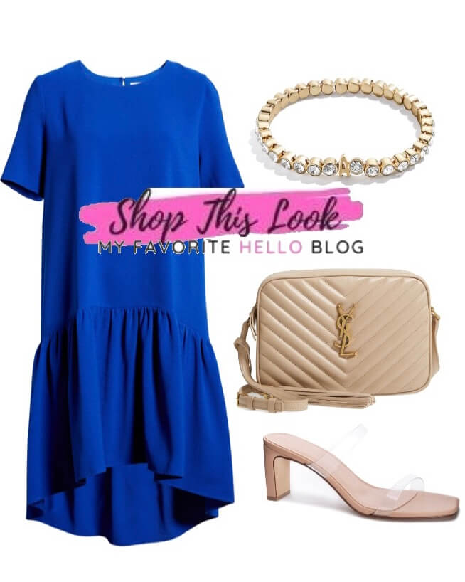 royal blue dress with nude shoes