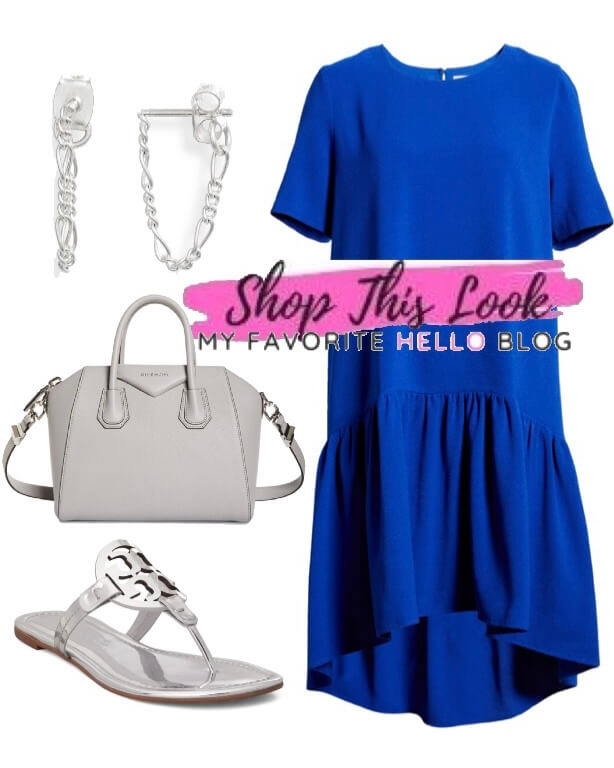 royal blue dress with silver sandals