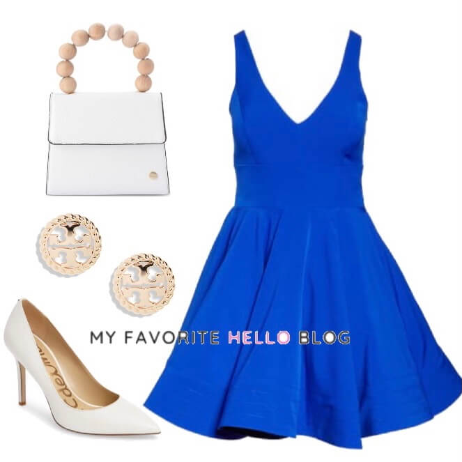 royal blue dress with white shoes