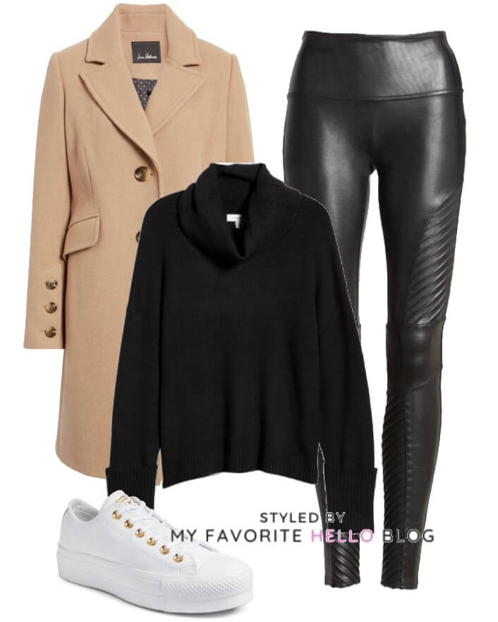 Black faux leather leggings and camel coat with sneakers
