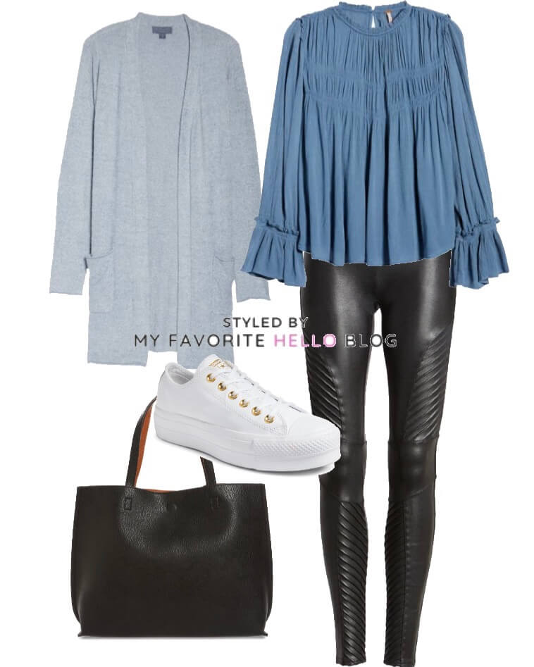 Black faux leather leggings with cardigan and boho top