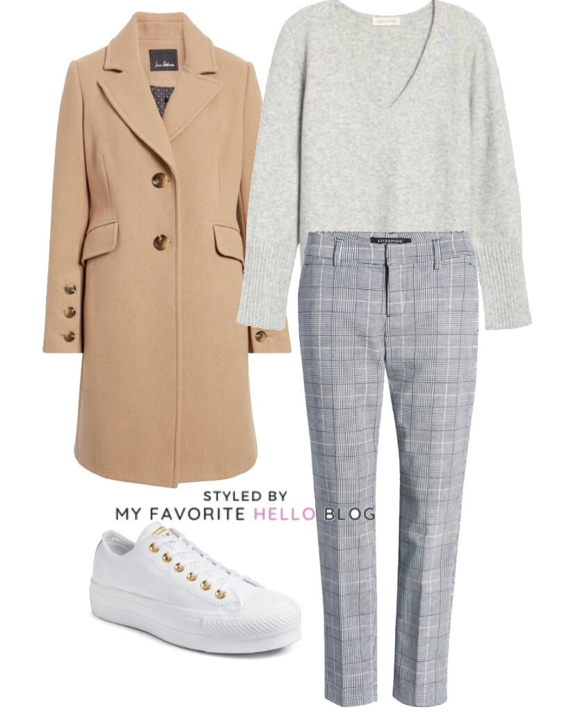 Winter outfit for work with plaid pants camel coat and grey sweater