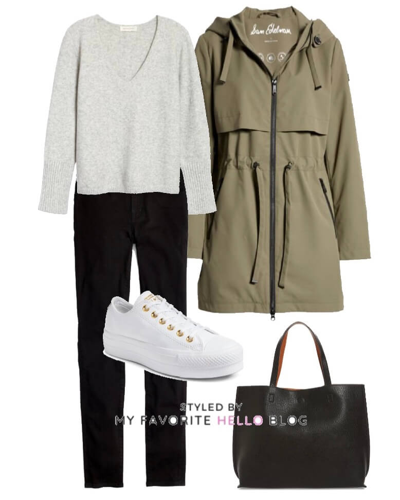 Winter outfit winter black jeans, olive jacket, grey sweater and sneakers