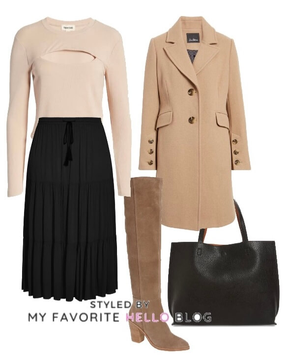 Winter outfit with black skirt and camel coat