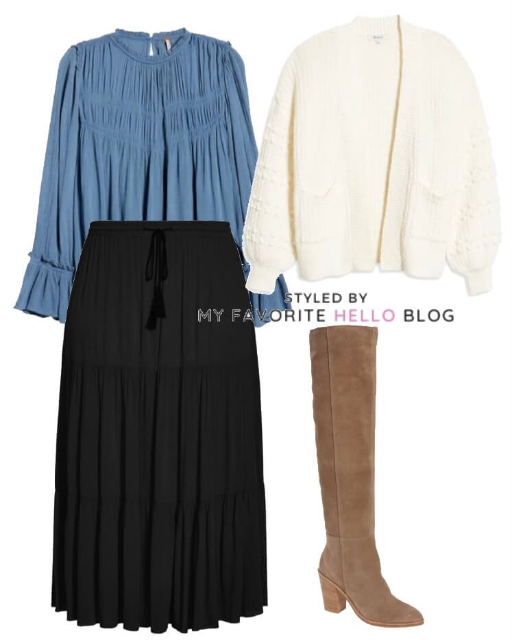 Winter outfit with black skirt and white cardigan and knee boots