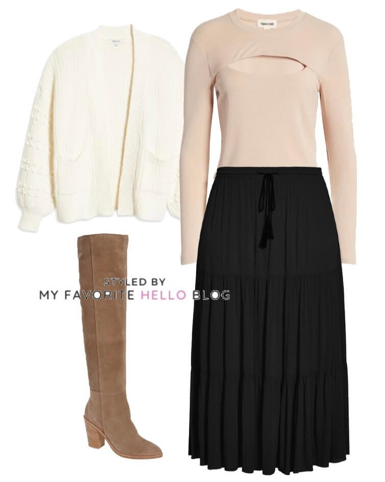 Winter outfit with black skirt, suede boots and white cardigan