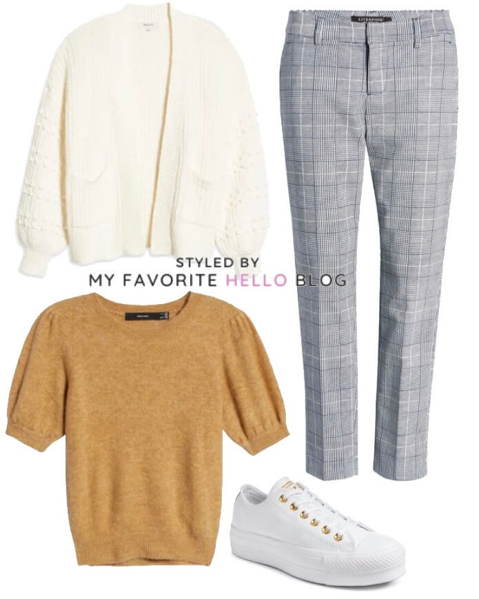 Work outfit with plaid pants with sweater and cardigan