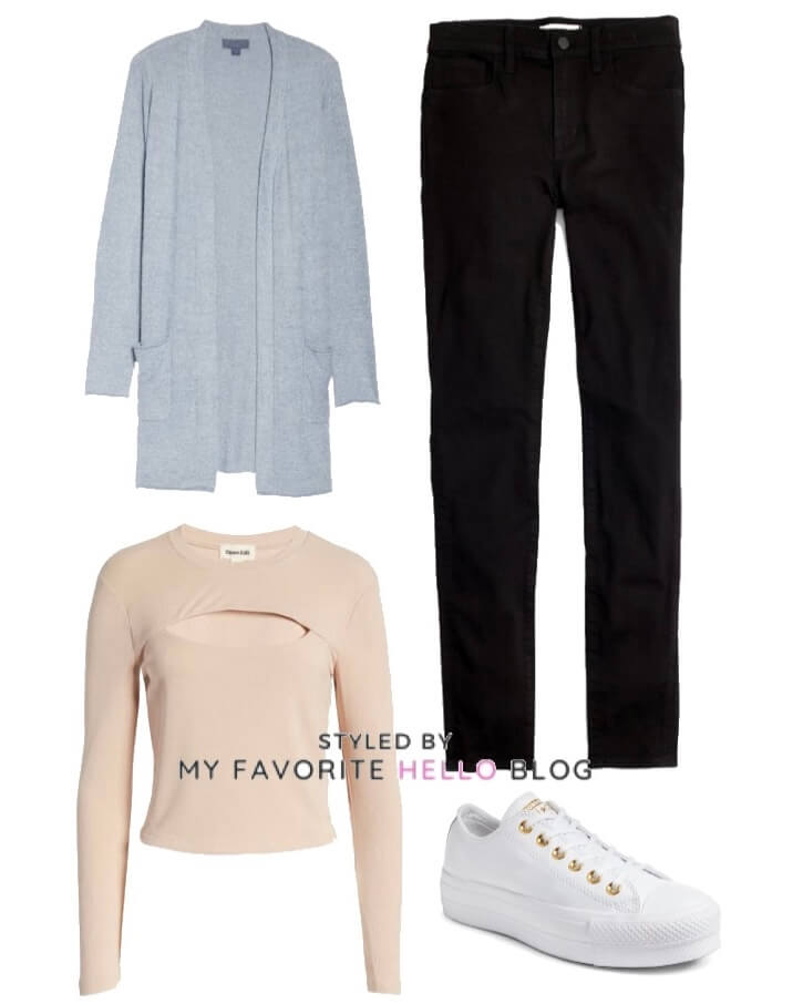 black jeans and blue cardigan and white sneakers