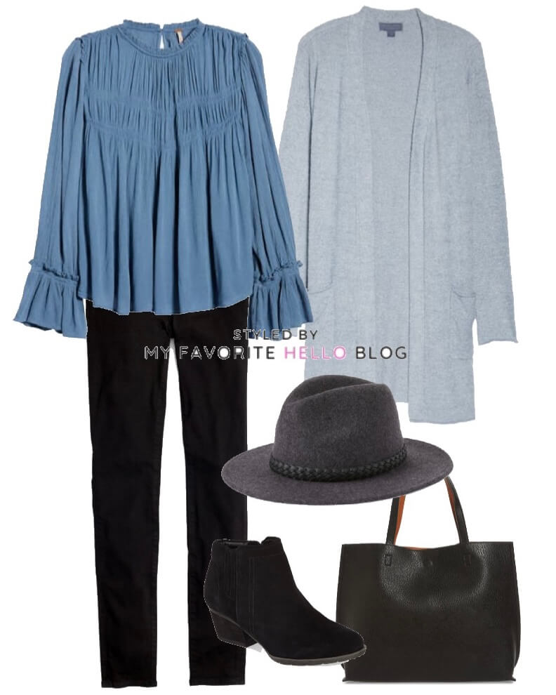 winter outfit with black jeans and boho top and wool hat