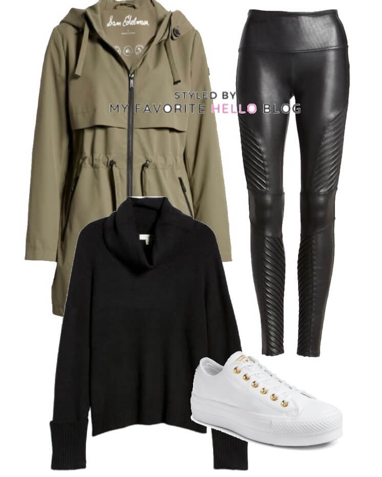 black moto faux leather leggings and olive jacket with sneakers
