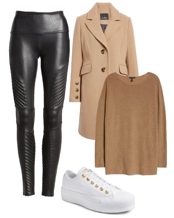 black moto leather leggings with tunic sweater camel coat and white sneakers