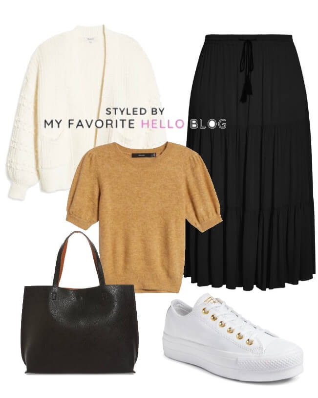 black skirt with camel sweater and white sneakers