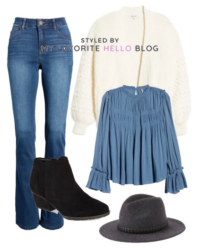 blue denim jeans with black booties and white cardigan
