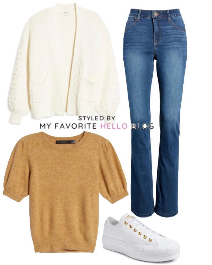 blue jeans with ivory cardigan