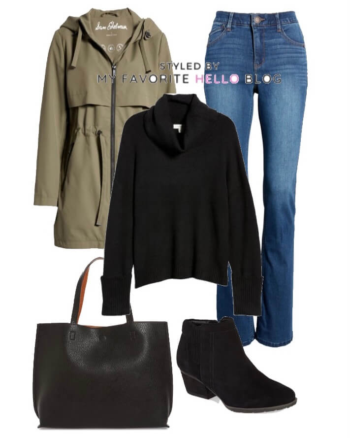 denim jeans with black sweater and olive jacket for winter outfits
